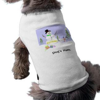 Camiseta del mascota - muñeco de nieve y navidad b camisa de mascota