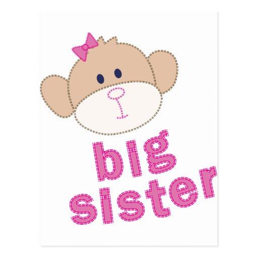 Camiseta del mono de la hermana grande tarjetas postales