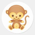 Camiseta del mono pegatina redonda