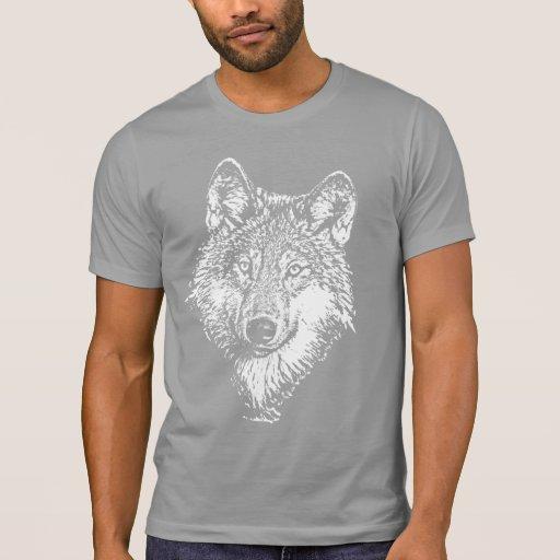 Camiseta del monocromo del lobo