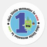 Camiseta del monstruo 1 del cumpleaños etiqueta redonda