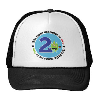 Camiseta del monstruo 2 del cumpleaños gorra