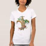 Camiseta del navidad de la flor de lis de Santa y