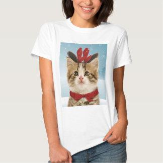 Camiseta del navidad del gatito del reno remeras