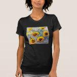 Camiseta del negro de los girasoles