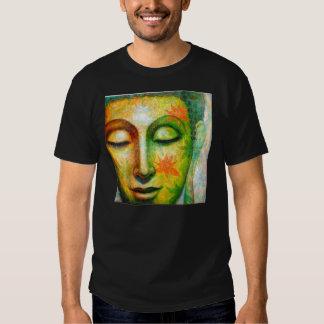 Camiseta del negro del arte de Buda de la Playeras