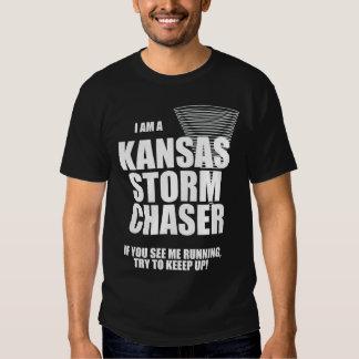 Camiseta del negro del cazador de la tormenta del polera