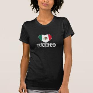 Camiseta del negro del corazón de México para las
