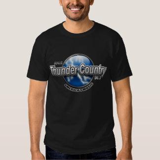 Camiseta del negro del país del trueno remera
