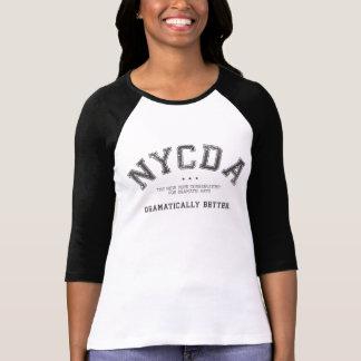 Camiseta del negro del raglán de las mujeres de NY