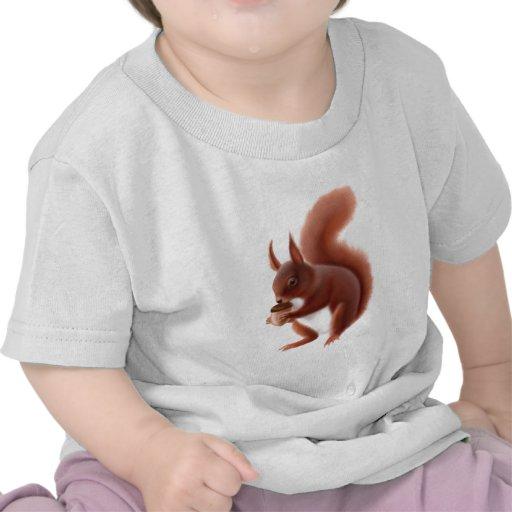 Camiseta del niño de la ardilla roja