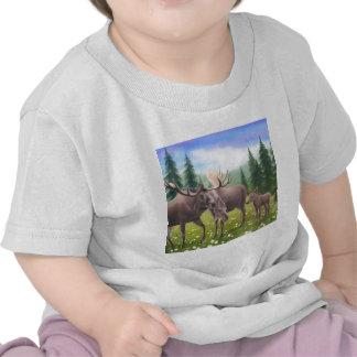 Camiseta del niño de la familia de los alces