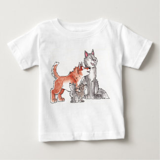 Camiseta del niño de la familia del lobo