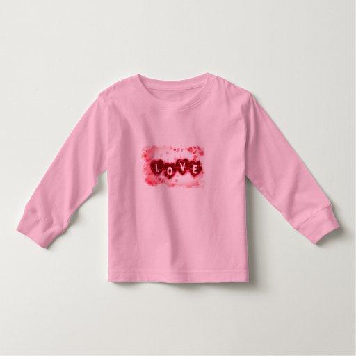 Camiseta del niño de las letras de amor