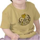 Camiseta del niño del amarillo del adorno del cora