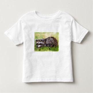 Camiseta del niño del mapache del aceo del bribón