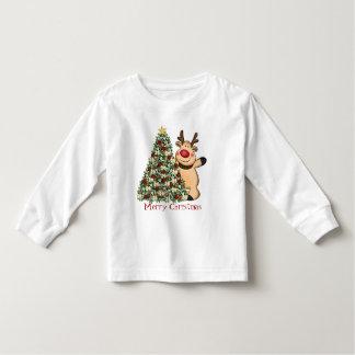 Camiseta del niño del reno del navidad