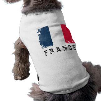 Camiseta del perrito de la bandera de Francia Camiseta De Perro