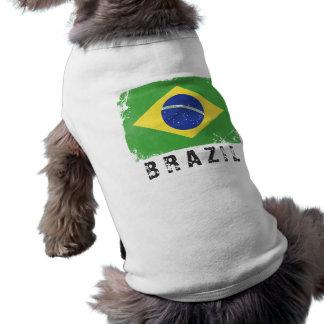Camiseta del perrito de la bandera del Brasil Camisetas De Perro