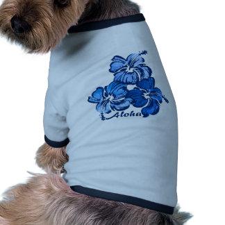 Camiseta del perrito del hibisco de la acuarela camiseta con mangas para perro