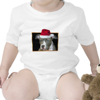 Camiseta del perrito del pitbull del navidad