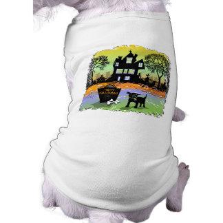 Camiseta del perro - casa encantada de Halloween c Playera Sin Mangas Para Perro