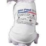 Camiseta del perro de Dawgz 4 Ron Paul 2012 Ropa Para Mascota