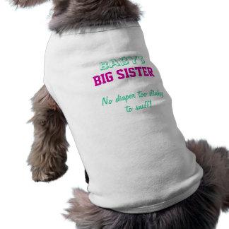 Camiseta del perro de la hermana grande del bebé playera sin mangas para perro