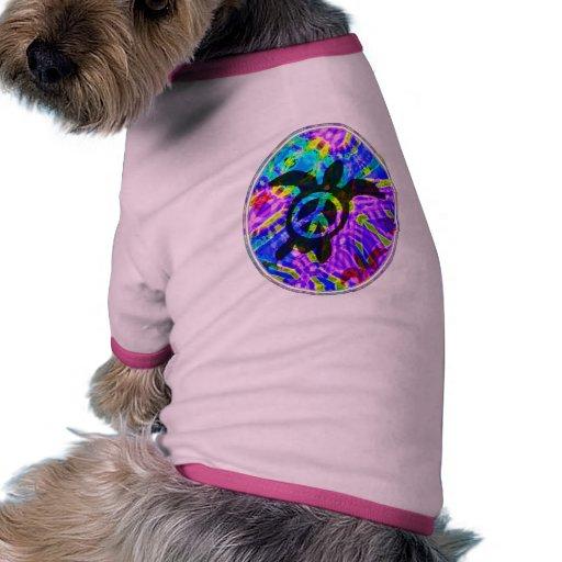 Camiseta del perro de la tortuga de la paz camiseta con mangas para perro