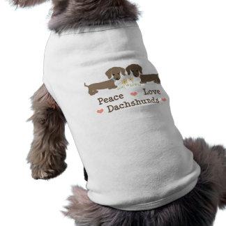 Camiseta del perro de los Dachshunds del amor de l Ropa Macota