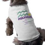 Camiseta del perro de los rasgos del acuario camisas de mascota