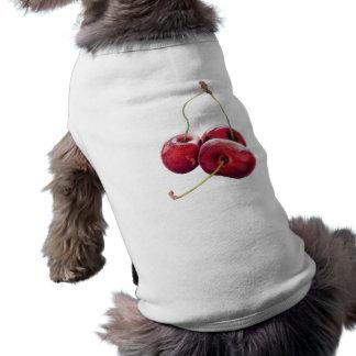 Camiseta del perro de tres cerezas playera sin mangas para perro