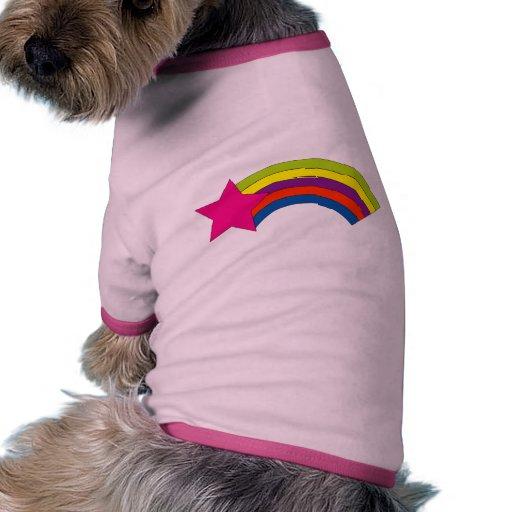 camiseta del perro del arco iris de la estrella camiseta con mangas para perro