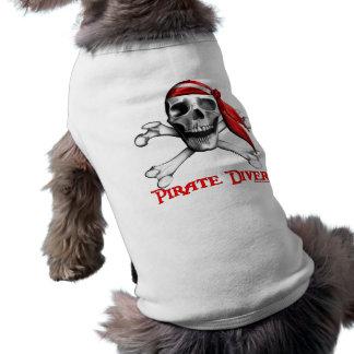 Camiseta del perro del buceador del pirata camisetas de perro
