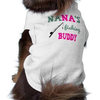 Camiseta del perro del compinche de la pesca de playera sin mangas para perro