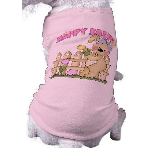 Camiseta del perro del conejito de pascua ropa macota