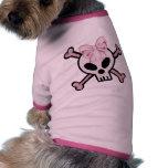 Camiseta del perro del cráneo del chica ropa para mascota