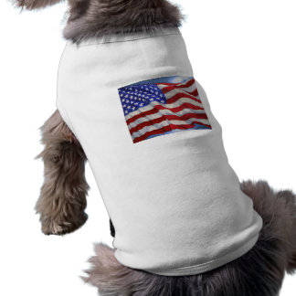 Camiseta del perro del ~ de la bandera americana camisa de perrito