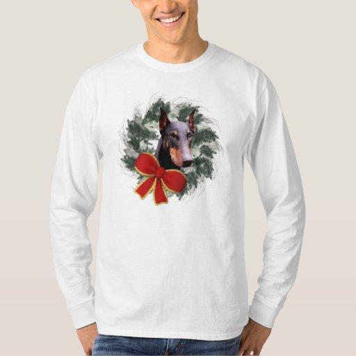 Camiseta del perro del navidad del Doberman y de Playeras