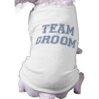Camiseta del perro del novio del equipo playera sin mangas para perro