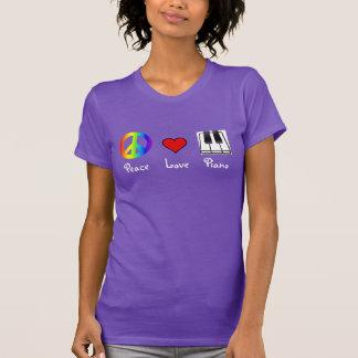 Camiseta del piano del amor de la paz polera