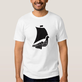 Camiseta del pictograma de la nave de Viking Playeras