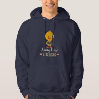 Camiseta del polluelo de la esposa del ejército sudadera pullover