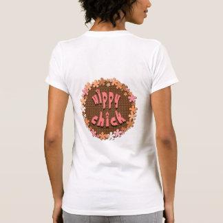 Camiseta del polluelo del hippy