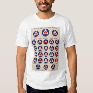 Camiseta del poster de la defensa civil WWII Camisas