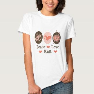 Camiseta del punto del amor de la paz poleras