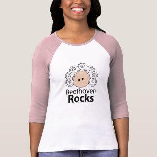Camiseta del raglán de Beethoven de las rocas de