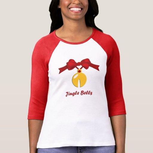 Camiseta del raglán de Jingle Bell del navidad