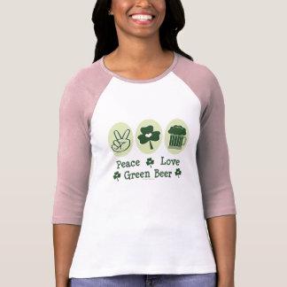 Camiseta del raglán de la cerveza del verde del polera