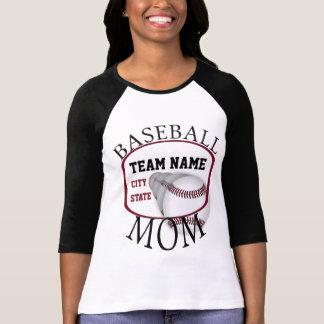 Camiseta del raglán de la mamá del béisbol poleras